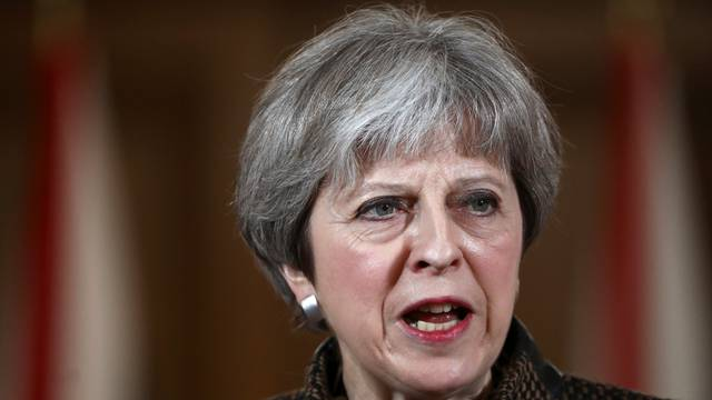 Britain's Prime Minister Theresa May attends a press conference in 10 Downing Street, London