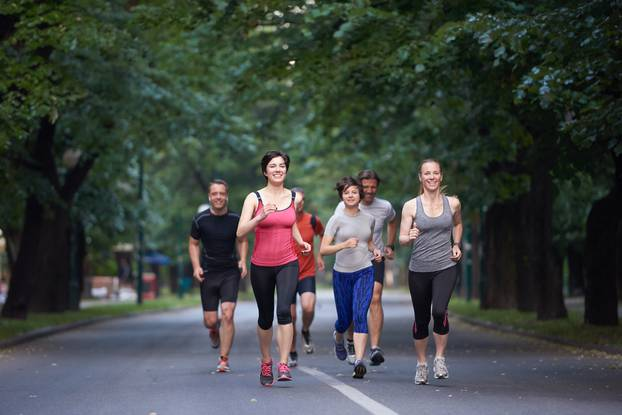 People,Group,Jogging,,Runners,Team,On,Morning,Training