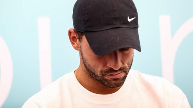 Bulgaria?s Grigor Dimitrov reacts during a press conference during Adria Tour at Novak Tennis Centre in Belgrade