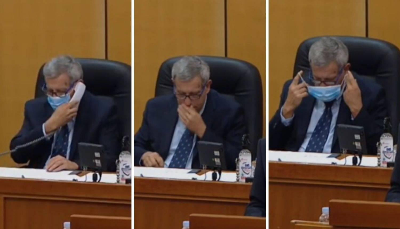 Saborskom tajniku telefonom javili da naopako nosi masku