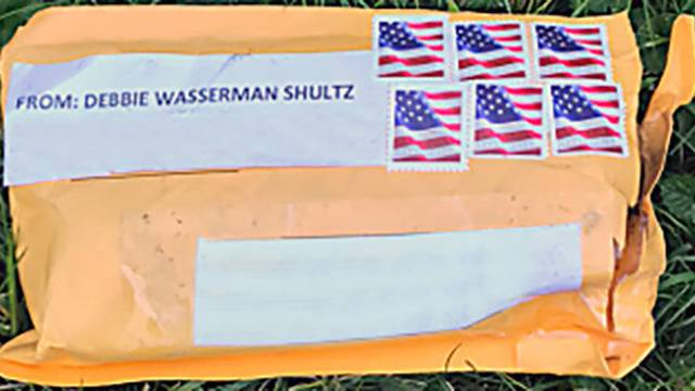 Handout photo of the exterior of one of the suspicious packages sent to multitple locations in the U.S.
