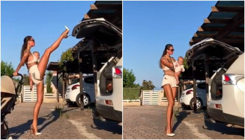 Influencerica štiklom zatvorila prtljažnik držeći bebu u ruci...