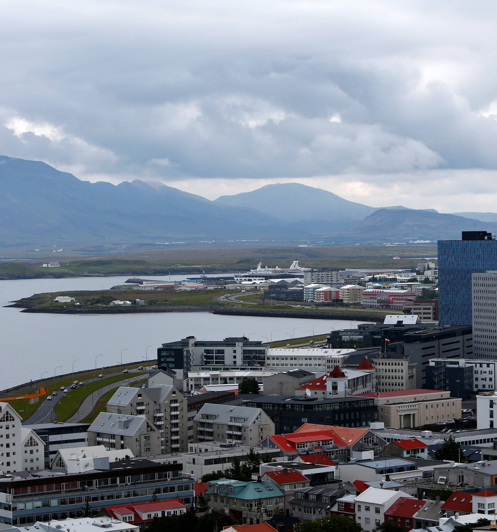 General view shows city of Reykjavik, seen from Hallgrimskirkja church