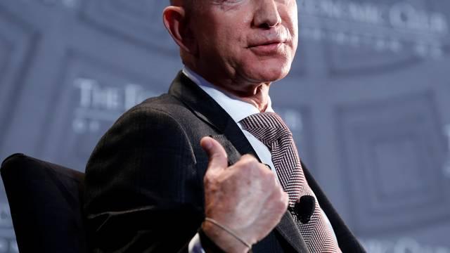"Jeff Bezos, president and CEO of Amazon and owner of The Washington Post, speaks at the Economic Club of Washington DC's ""Milestone Celebration Dinner"" in Washington"