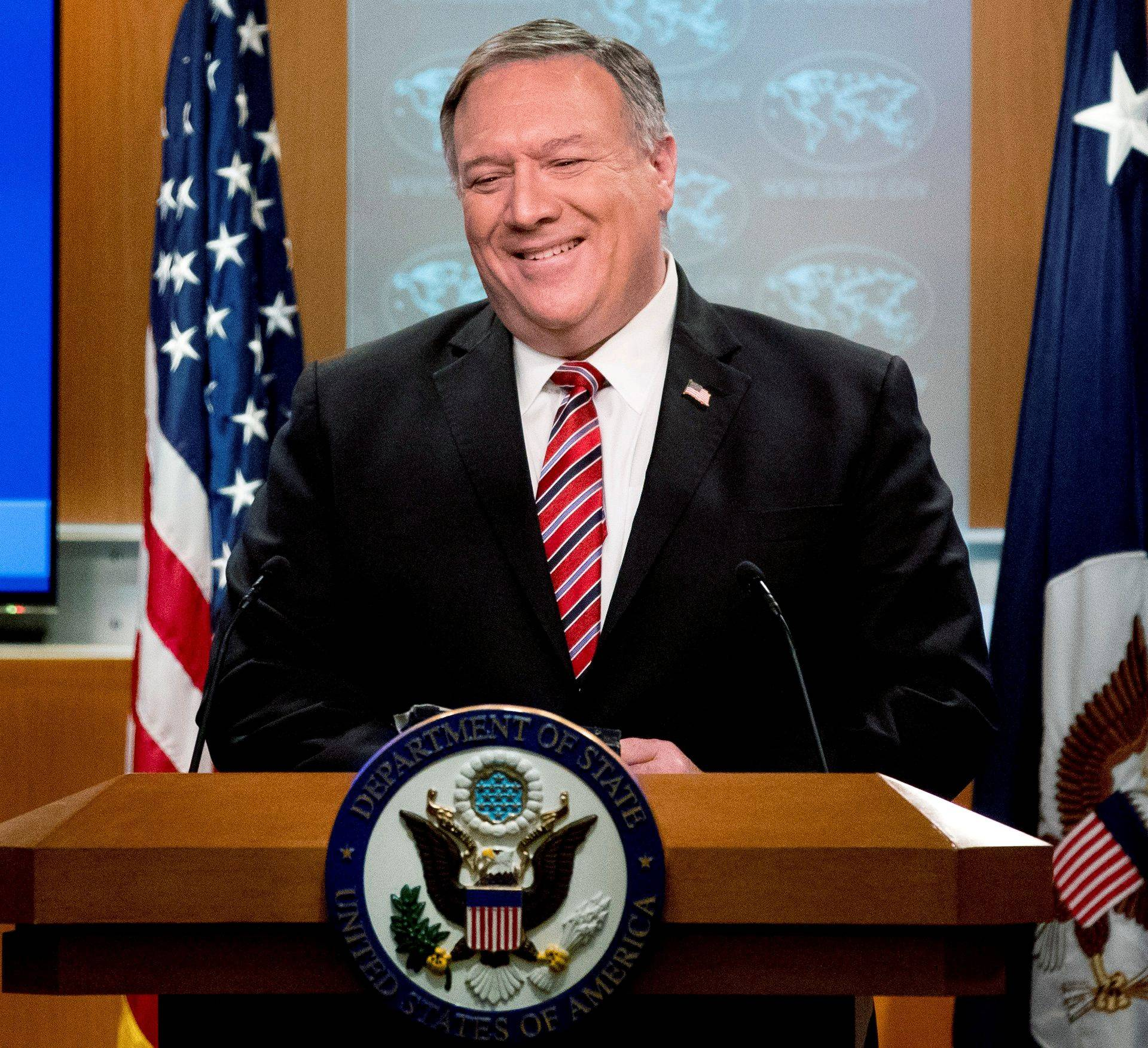 FILE PHOTO: U.S. Secretary of State Mike Pompeo holds a news briefing