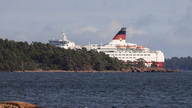 Viking Line's cruiseferry MS Amorella is seen in a stable situation in Foglo