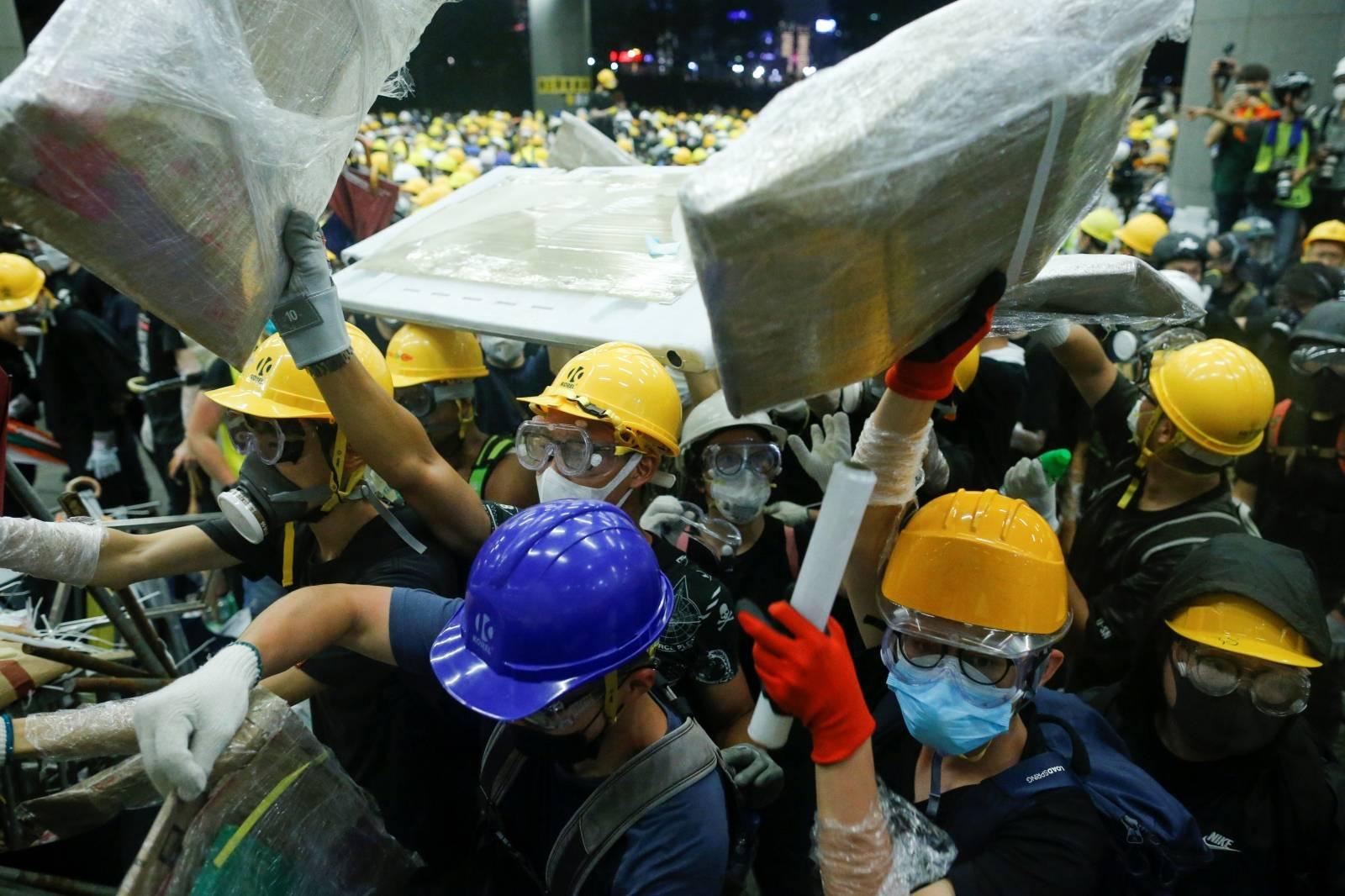 Protesters storm the building on the anniversary of Hong Kong's handover to China in Hong Kong