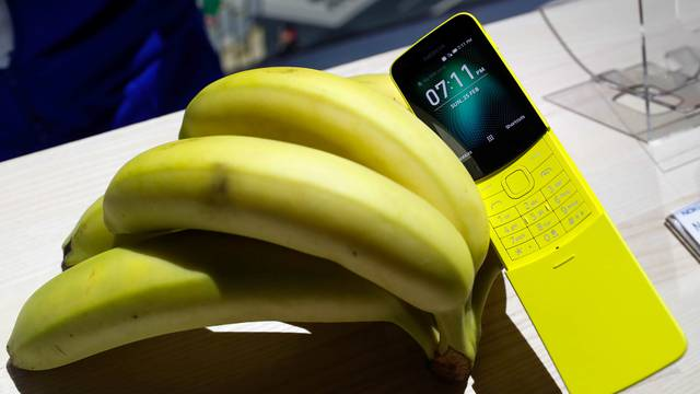 The new Nokia 8110 is displayed during the Mobile World Congress in Barcelona