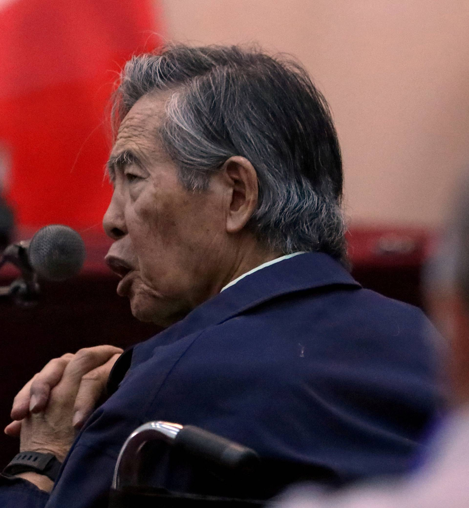 FILE PHOTO: Former President of Peru Alberto Fujimori attends a trial as a witness at the navy base in Callao