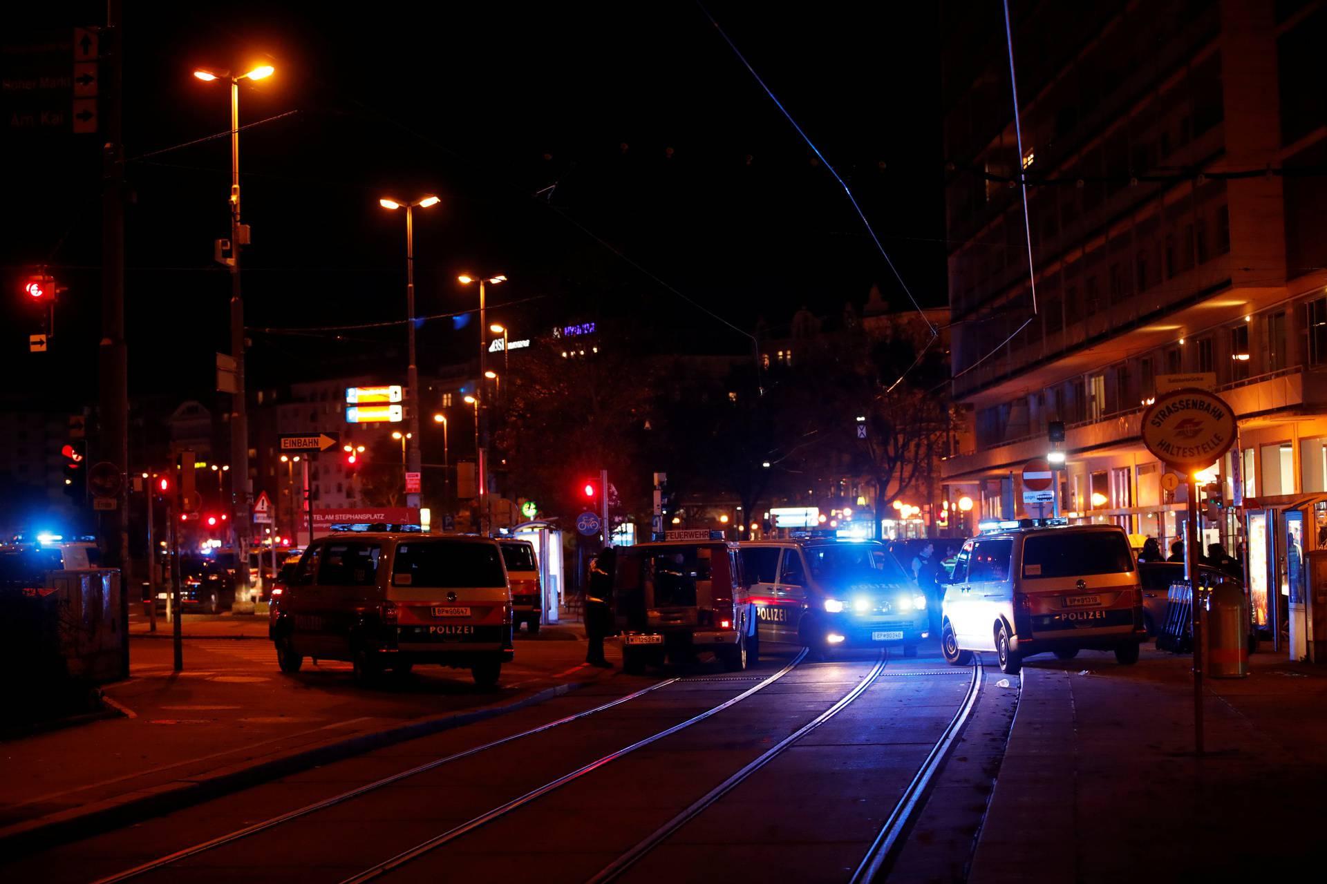 Police blocks a street near Schwedenplatz square after a shooting in Vienna