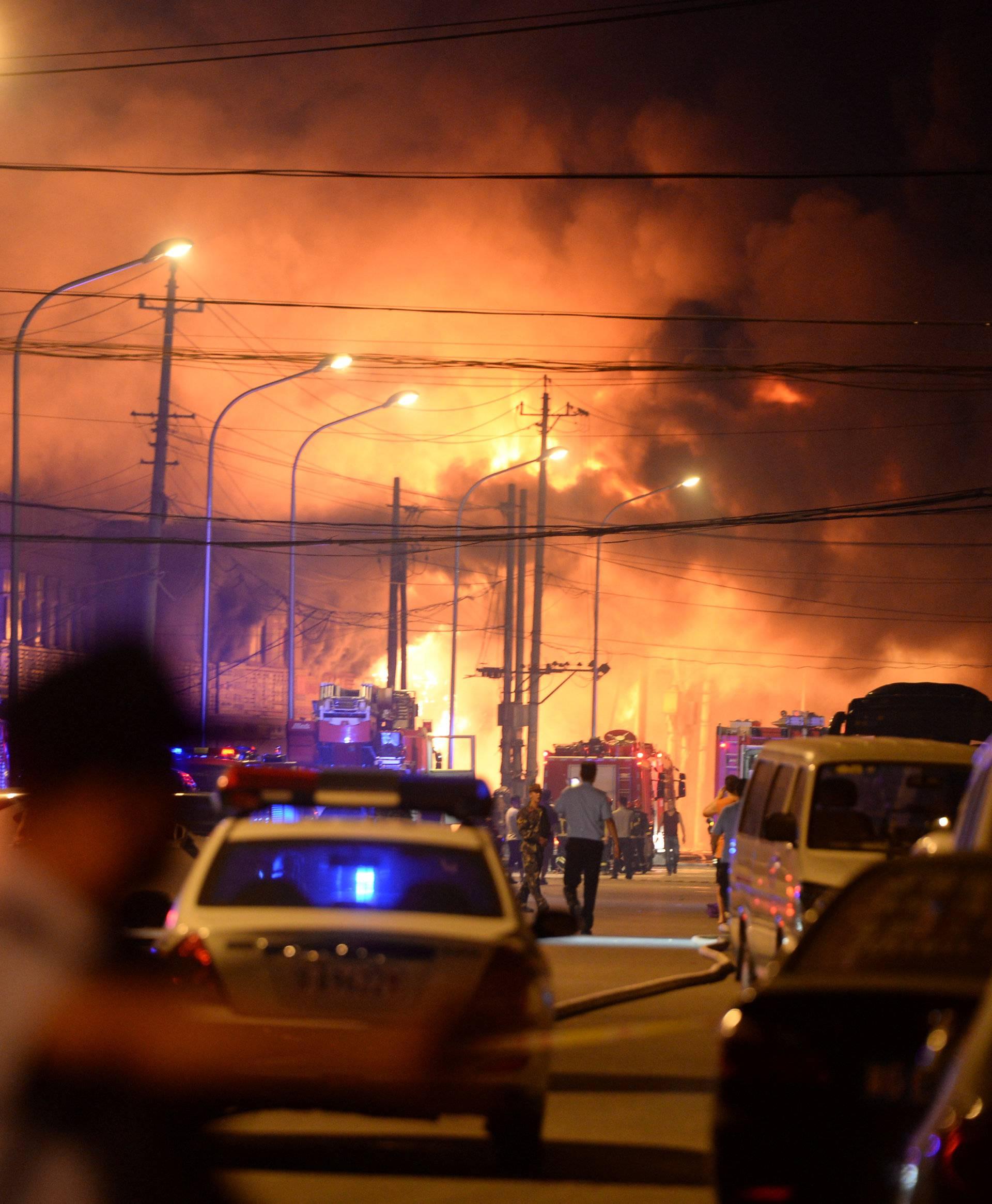 A building of a market is seen on fire in Beijing