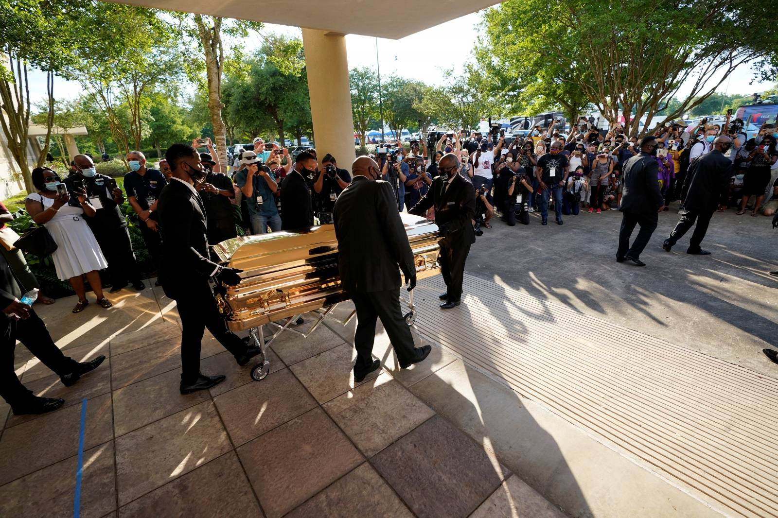 The casket of George Floyd is removed after a public visitation for Floyd