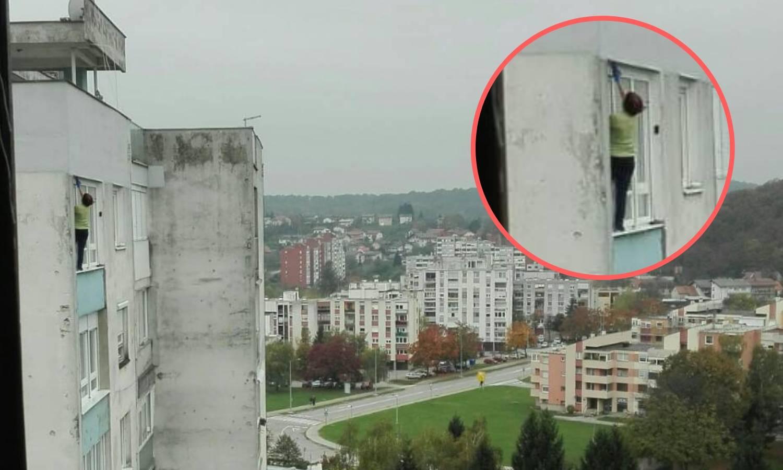 Tko se boji visine? Na 12. katu kao Spiderman prala prozore