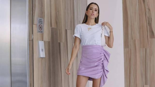 Suknja boje lavande s volanima