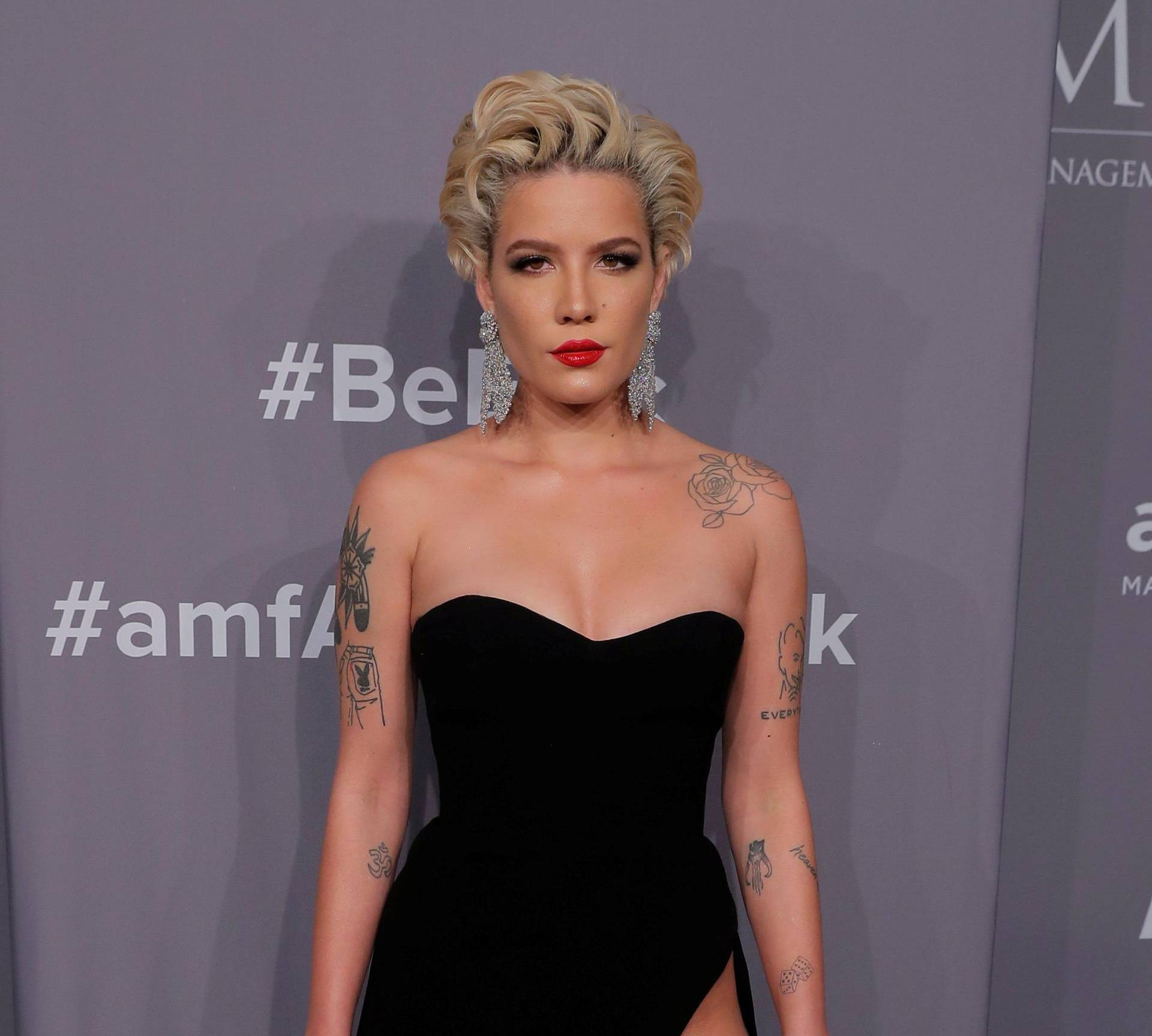 Singer Halsey arrives for an amfAR gala to celebrate Lee Daniels during New York Fashion Week in New York
