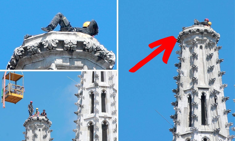 Pauza od posla: Alpinisti ležali na vrhu katedrale i uživali