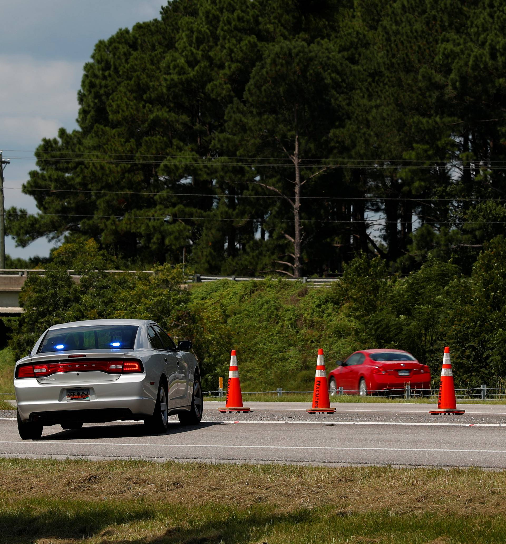 People evacuating coastal areas use all lanes to drive westbound on the Interstate 26 near Orangeburg