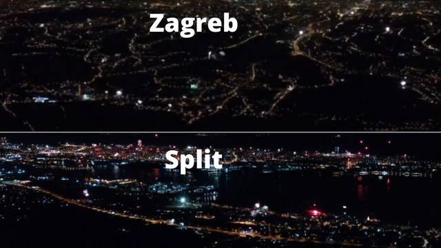 Snimke iz zraka: Evo kako su Split i Zagreb dočekali Novu