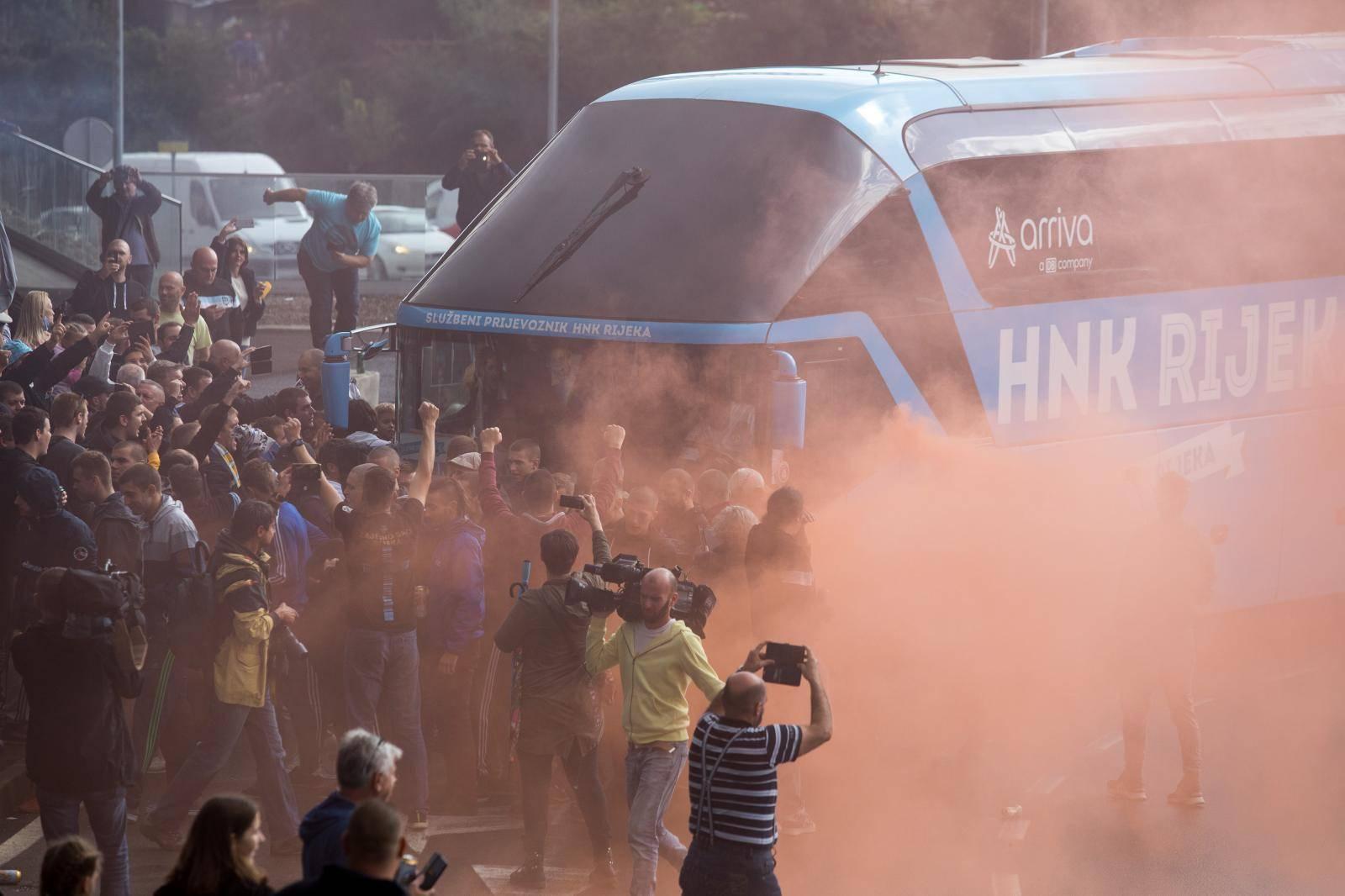 Doček nogometaša Rijeke nakon plasmana u grupnu fazu Europske lige