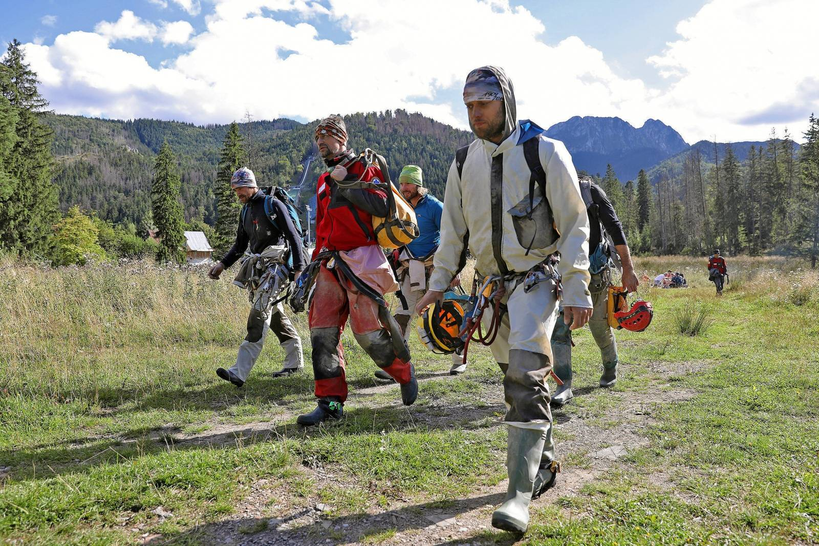 Mountain rescue team (TOPR) members return from a search mission in Zakopane