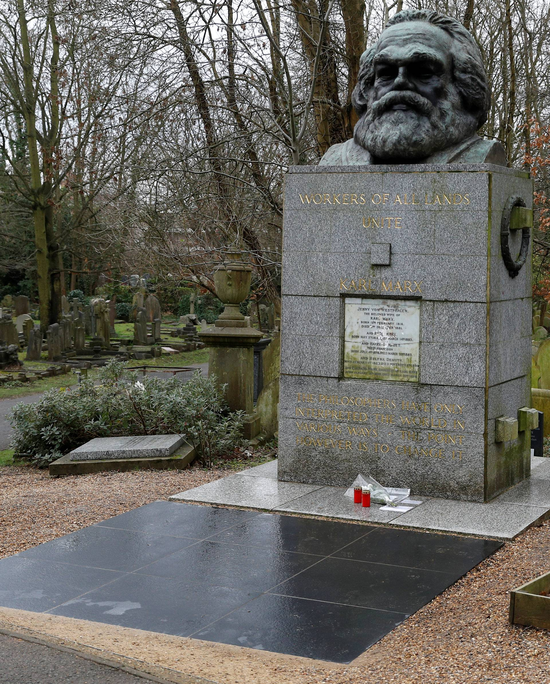 A memorial to German philosopher Karl Marx is seen after it was vandalised at Highgate Cemetery in north London