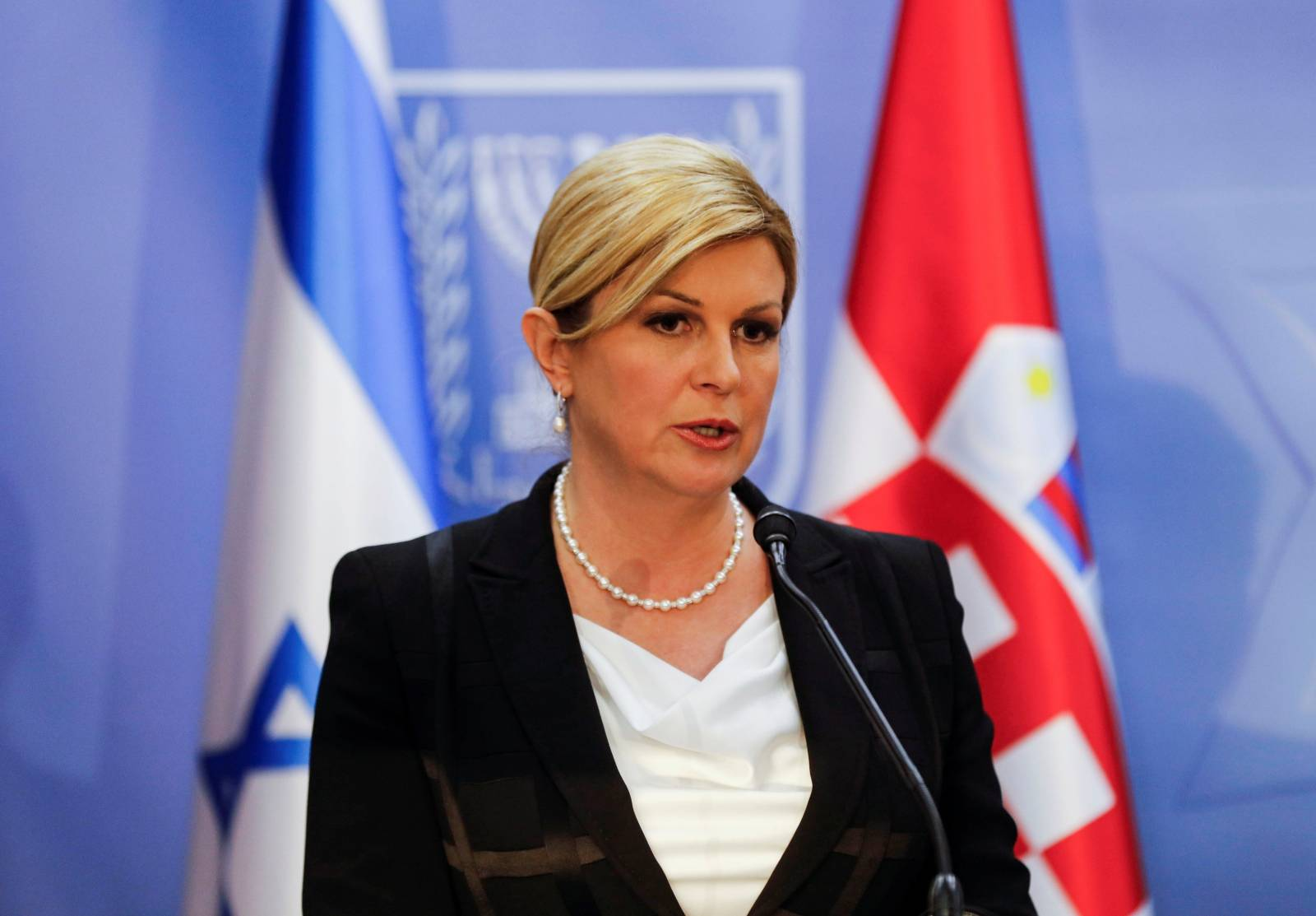 Croatia's President Kolinda Grabar-Kitarovic speaks as she holds a joint news conference with Israeli Prime Minister Benjamin Netanyahu in Jerusalem