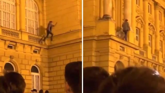 VIDEO Igra sa životom: Skakao po izbočinama na zgradi HNK