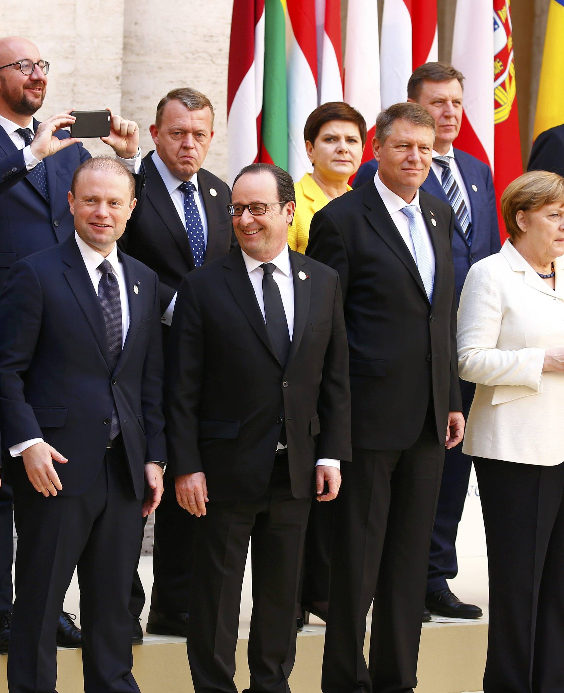 European Union leaders pose for a family photo during a meeting on the 60th anniversary of the Treaty of Rome
