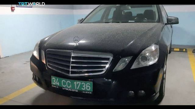 A car with diplomatic plates allegedly belonging to the Saudi Consulate in Istanbul is seen in a parking lot in this still image taken from video
