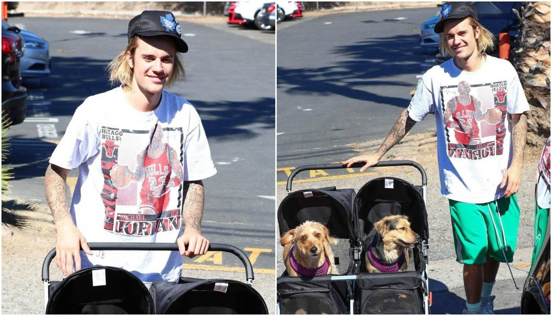 Justin Bieber svoje 'bebice' provozao u kolicima po kvartu