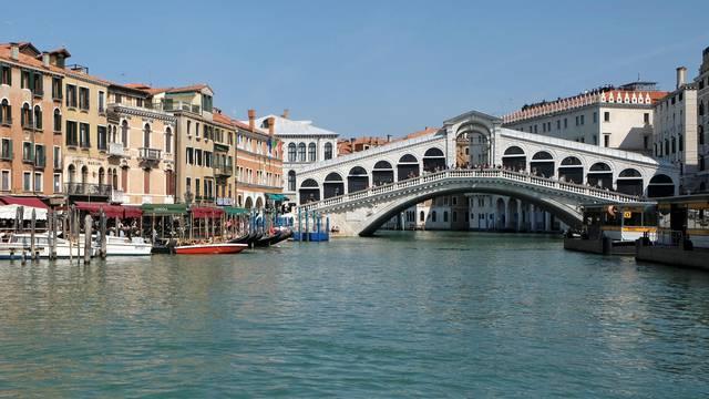 The Rialto Bridge is seen in Venice