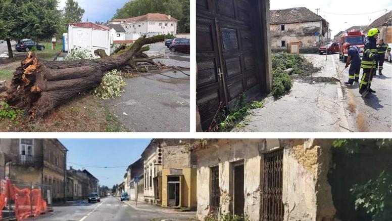Veliko nevrijeme pogodilo Glinu i Petrinju: Rušila se stabla, sa zgrada pada žbuka, nema struje
