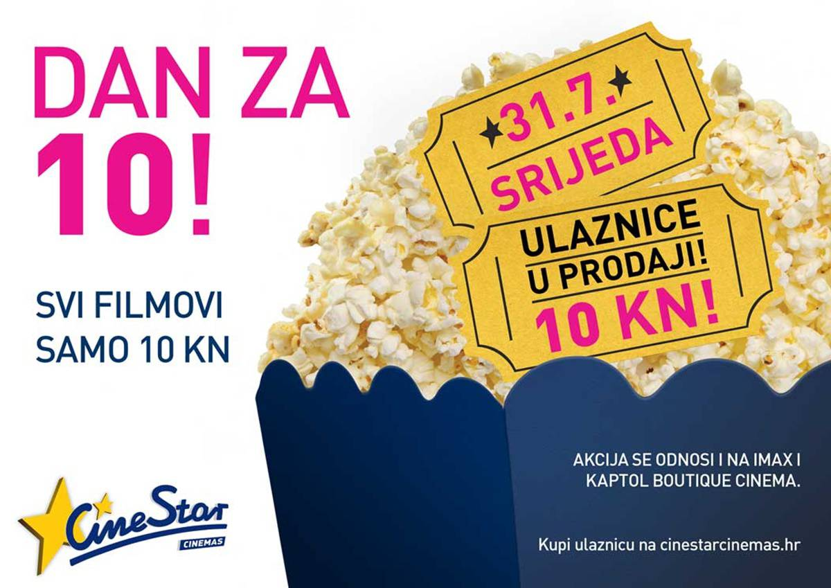 Sljedeća srijeda je dan za kino: Filmovi u CineStaru za  10 kuna