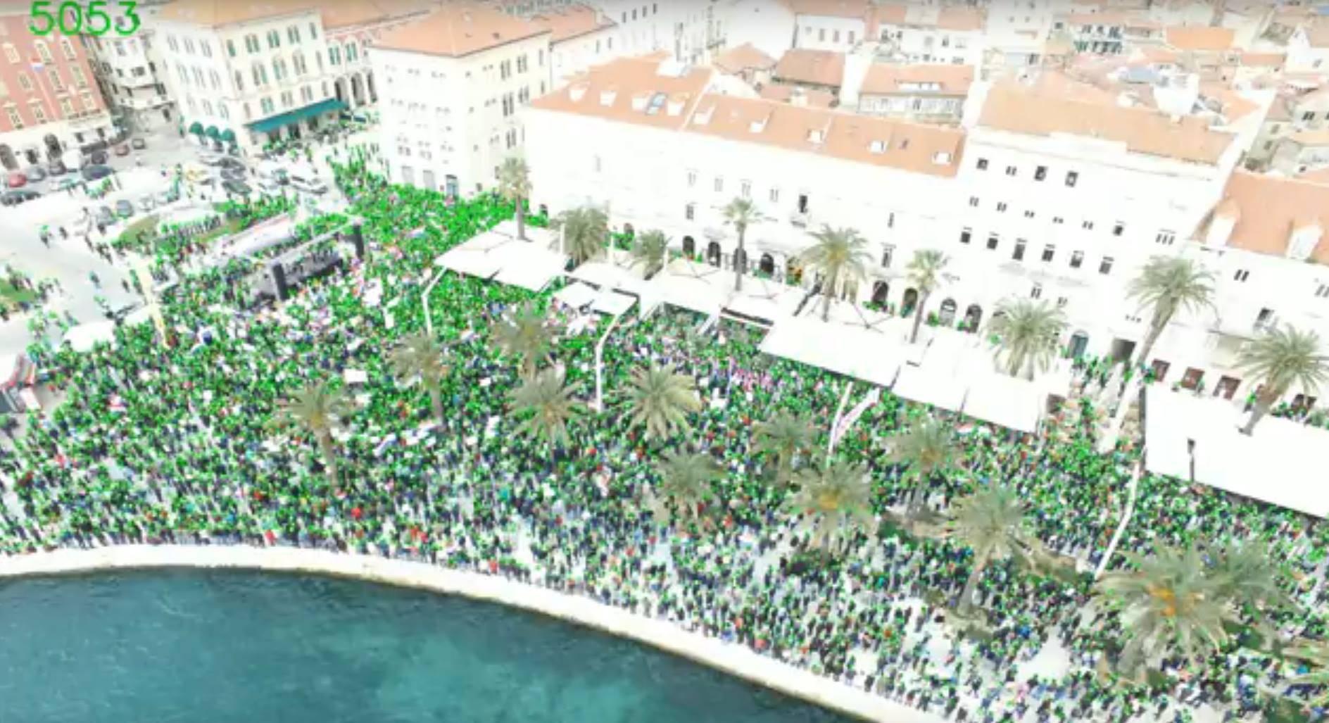 Na splitskoj Rivi prosvjedovalo je malo više od 5000 građana