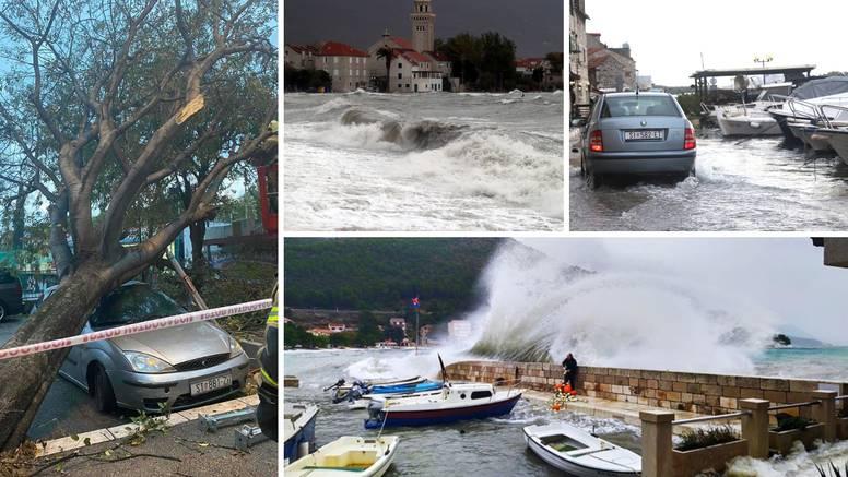 Hvar odsječen, more poplavilo ulice, u Splitu su uništeni auti