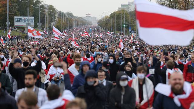 FILE PHOTO: Belarusian opposition supporters hold a rally in Minsk