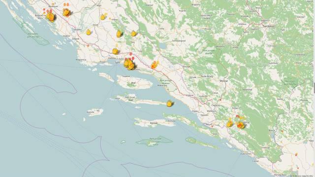 Interaktivna karta: Evo gdje se sve vatrogasci bore s požarima