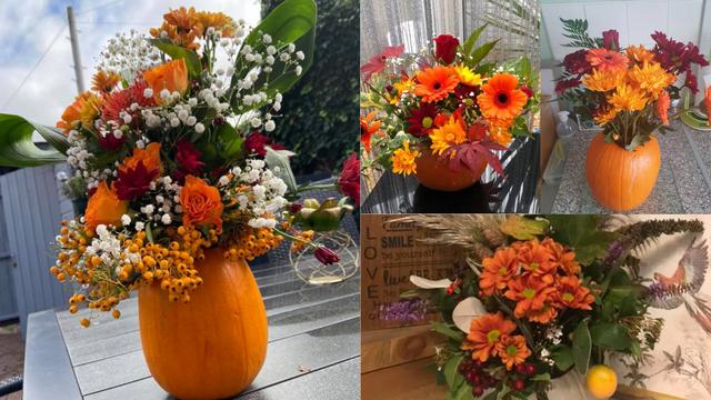 Odlična ideja za Noć vještica: Vaze od bundeve s cvijećem