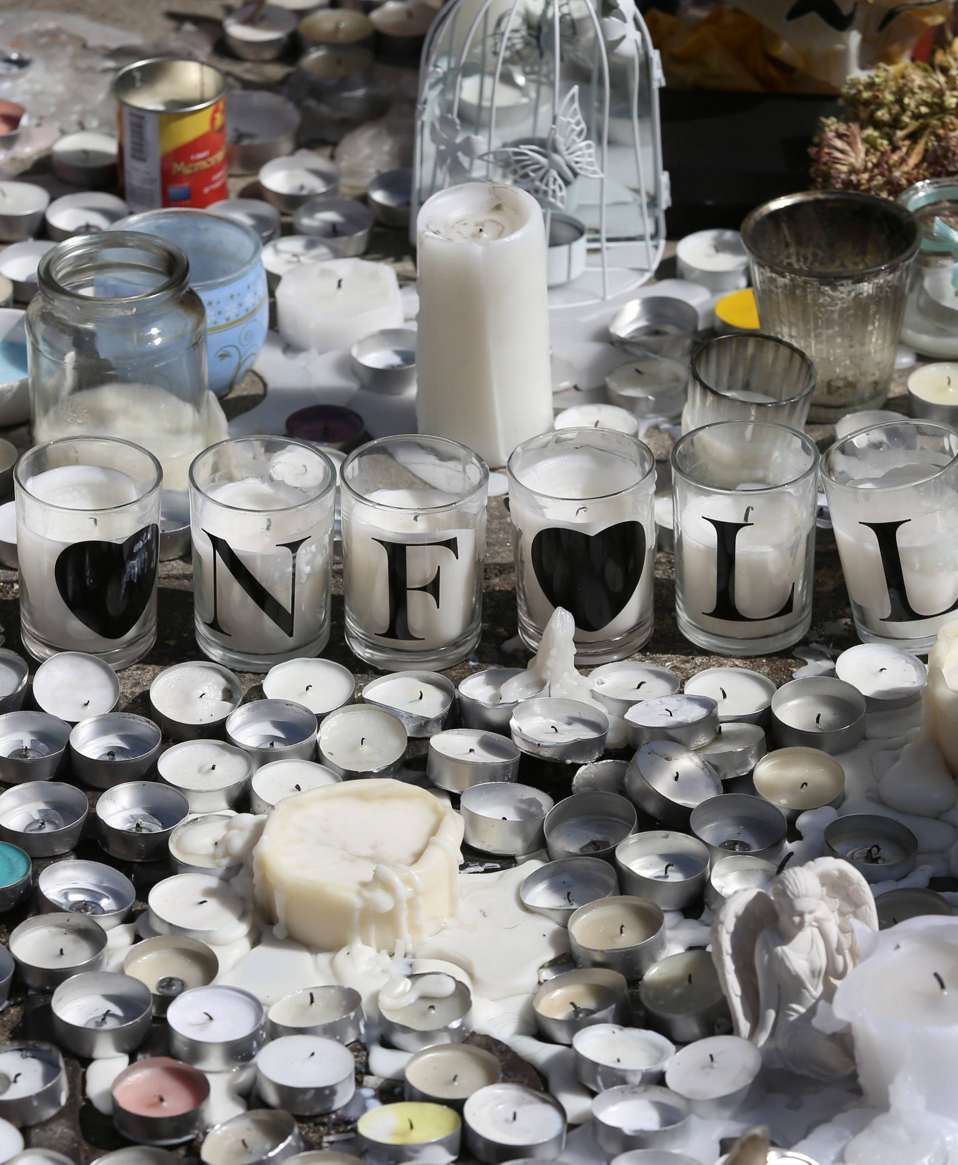 A tribute to the victims of the Grenfell Tower fire is seen in North Kensington, London