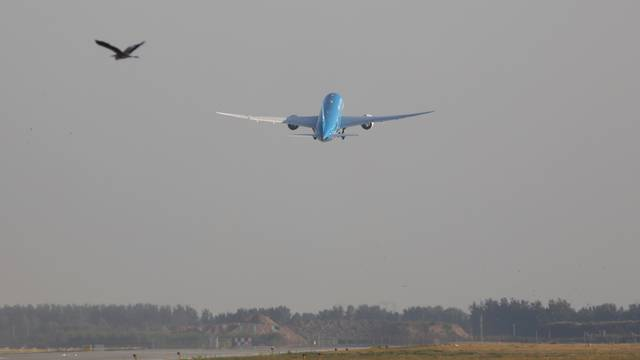 Xiamen Airlines Boeing 787-9 plane to Xiamen takes off from the newly launched Daxing International airport in Beijing
