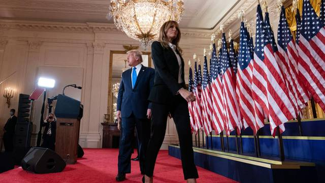 Le président Donald Trump lors d'une conférence de presse à la Maison Blanche à Washington