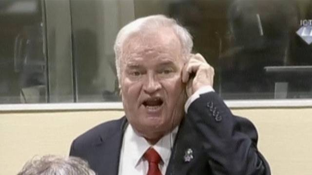 Ex-Bosnian Serb wartime general Ratko Mladic reacts in court at the International Criminal Tribunal for the former Yugoslavia in the Hague