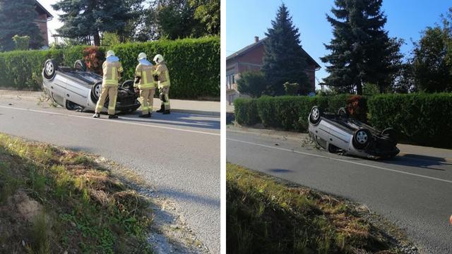Automobil se prevrnuo na krov: Vozača su izvlačili vatrogasci...
