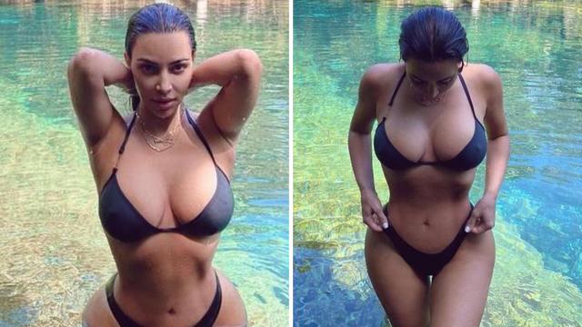 Kim Kardashian pokazala obline u malenom crnom bikiniju