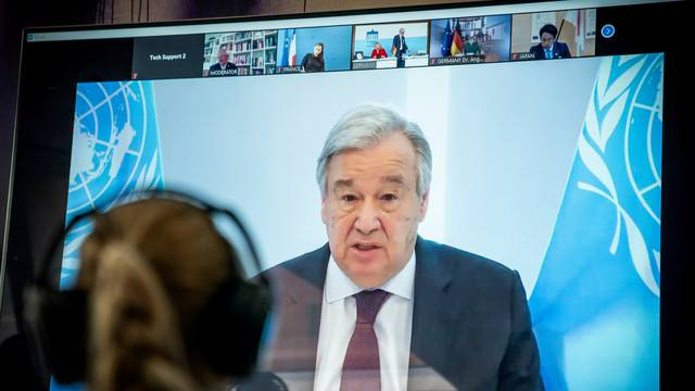 FILE PHOTO: UN Secretary-General Guterres in April during a virtual climate summit
