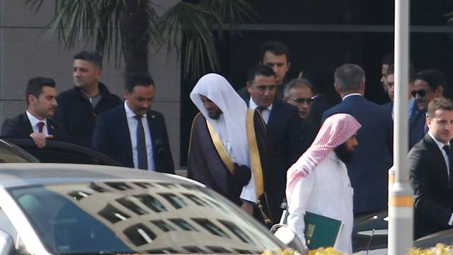 Saudi public prosecutor Saud Al Mojeb leaves from the Justice Palace in Istanbul