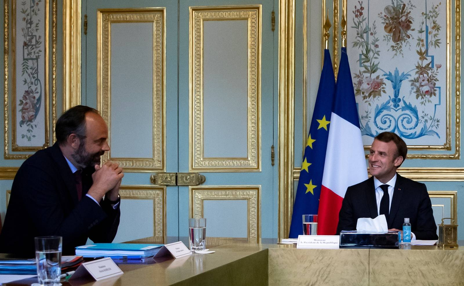 French President Macron meets Presidents of Senate Parliament and CESE in Paris
