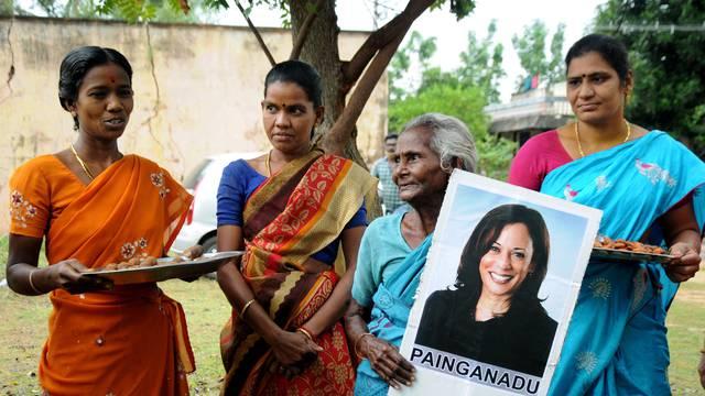 Villagers celebrate victory of U.S. Vice President-elect Kamala Harris in Painganadu