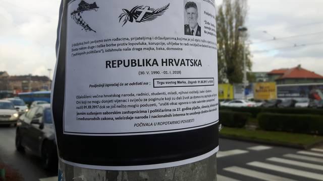Širom Zagreba osvanule su osmrtnice Republici Hrvatskoj