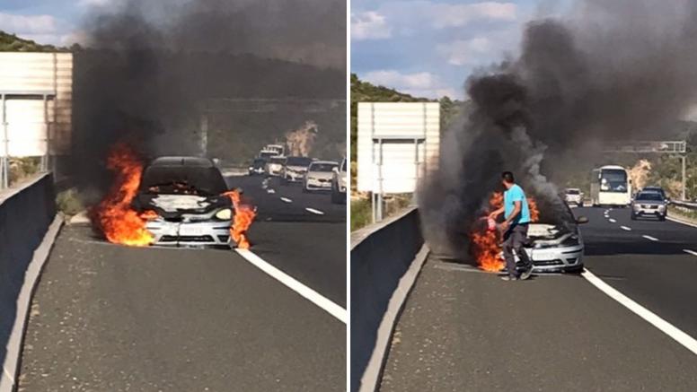 Zapalio se auto kod Posedarja: 'Nismo ga uspjeli spasiti, imali smo samo mali aparat'